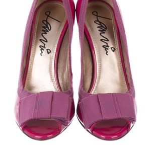 Lanvin Patent Leather Peep-Toe Pumps
